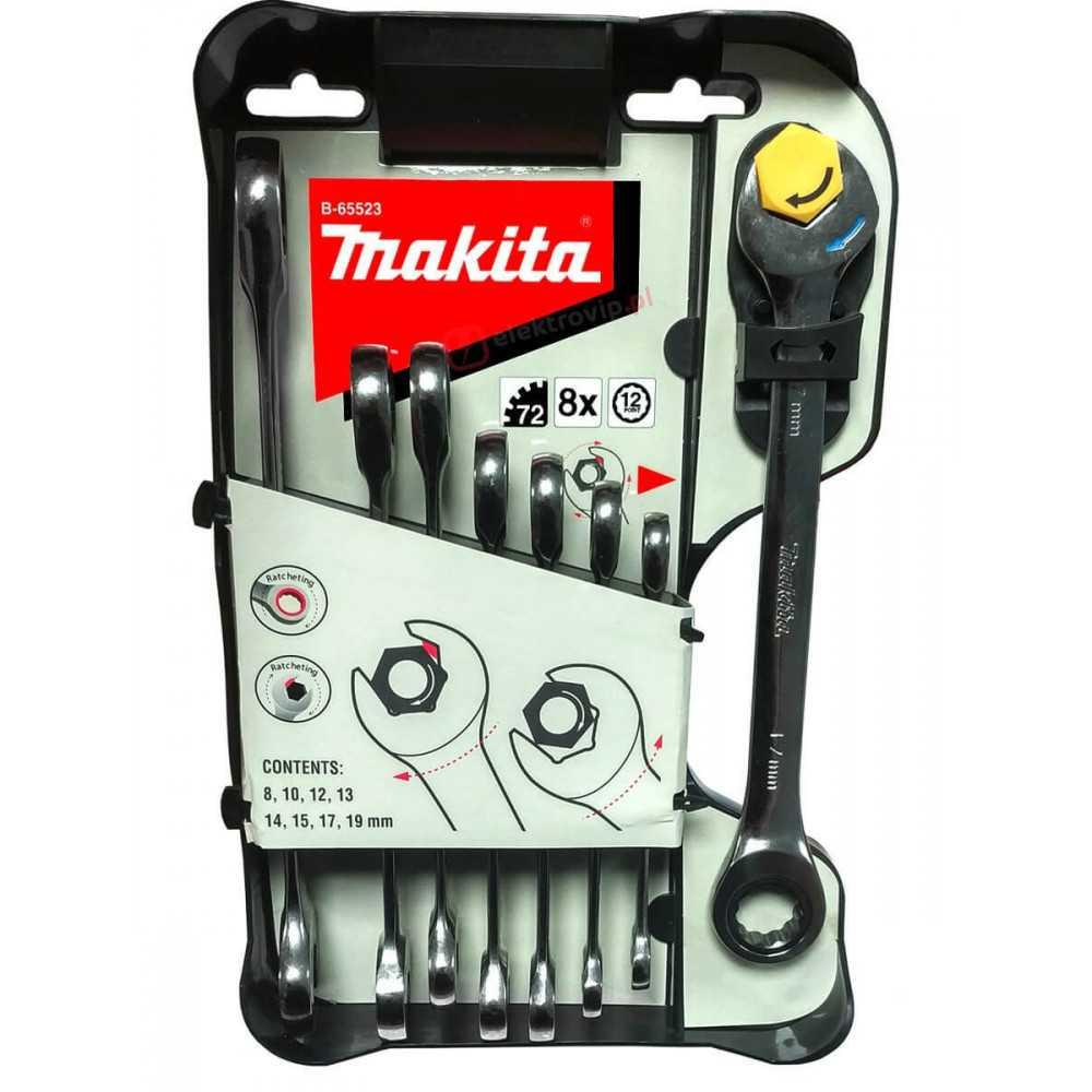 Juego de Llaves Combinadas con Matraca 8 Pzs Makita B-65523