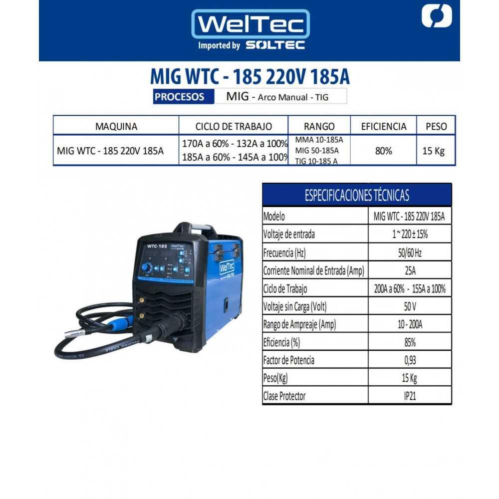 Soldadora Multiproceso Inverter 185A MIG/MMA/TIG 220V WTC-185 WelTec MEI-220355