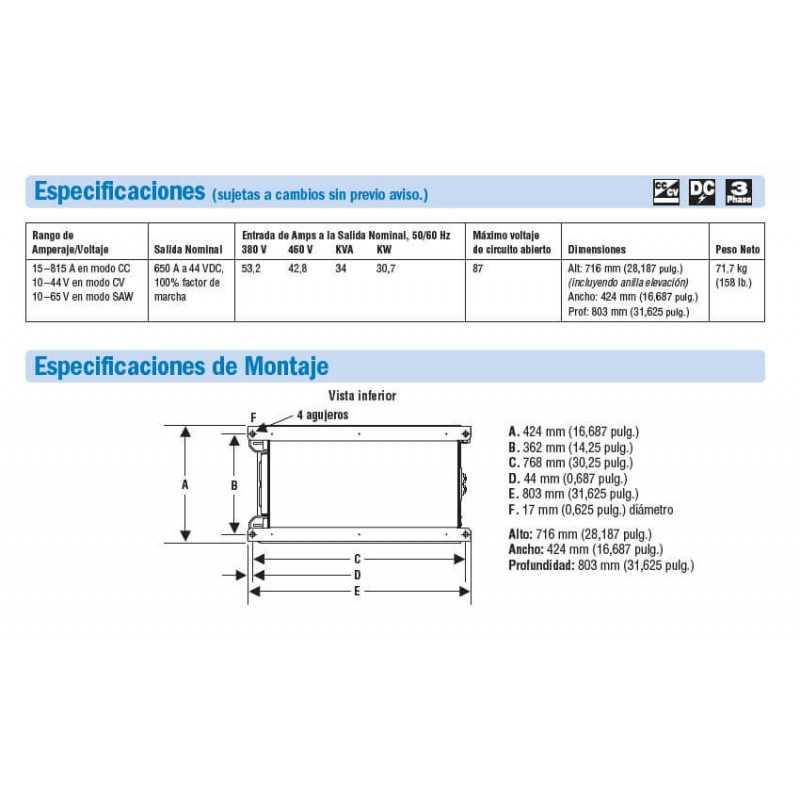 Soldadora Multiproceso 650A Dimension 650 380/460V 907617 Miller MEP-111505001