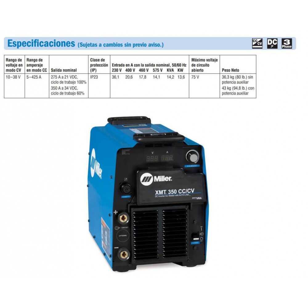 Soldadora Multiproceso Inverter 350A XMT 350 CC/CV 208/575V AUTO-LIN 907161 Miller MEP-111505000