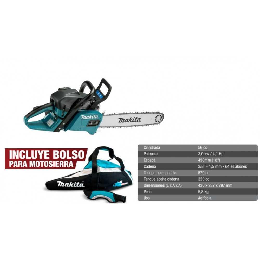 "Motosierra 18"" (450 mm) 4.1 HP 56 CC + Bolso Makita EA5600F45K-1"