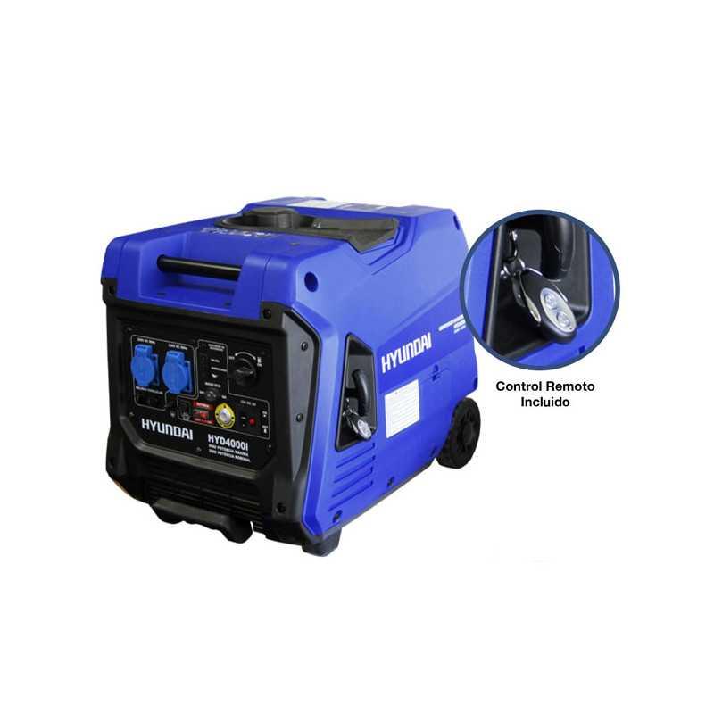 Generador Eléctrico Inverter digital gasolina 3,5/4,0 kw Partida electrica, manual y control Remoto Hyundai 82HYD4000I