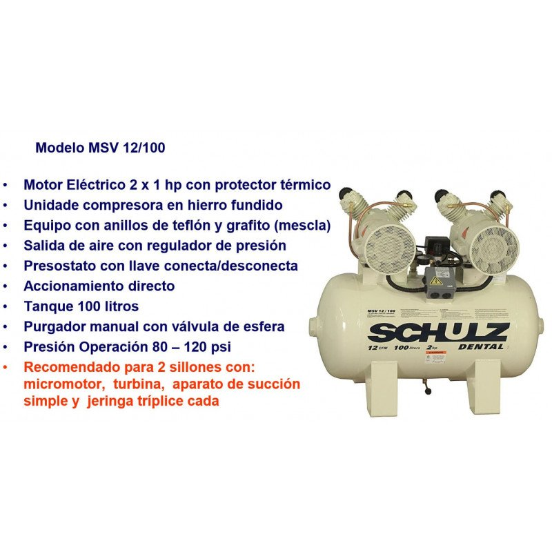 Compresor MSV-12/100L 2x1HP 220V Sin Aceite Schulz 9308045-0