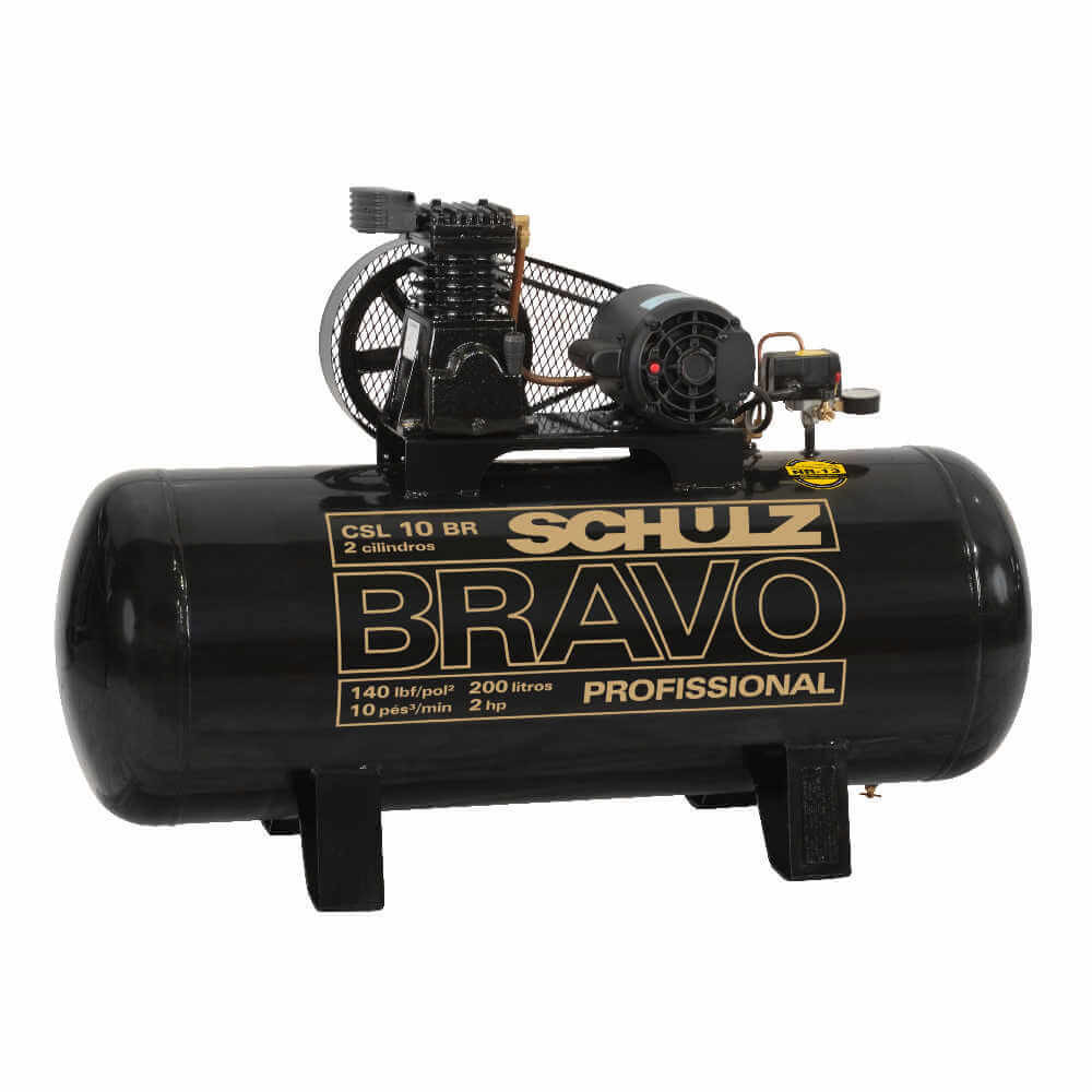 Compresor de aire CSL-10BR/200L 2HP 220V Monofásico Bravo Schulz 9318099-0