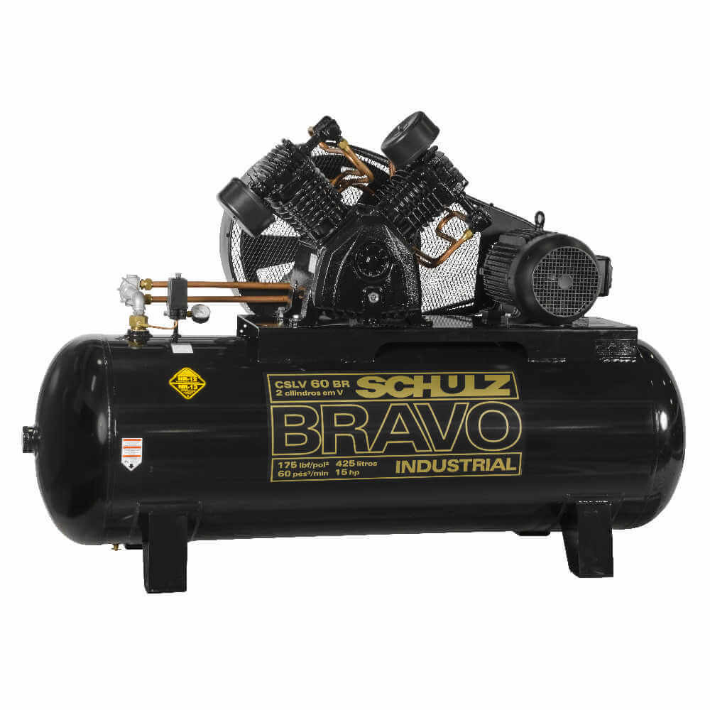 Compresor de aire CSLV-60BR/425L 15HP 380V Trifasico Bravo Schulz 9347472-0