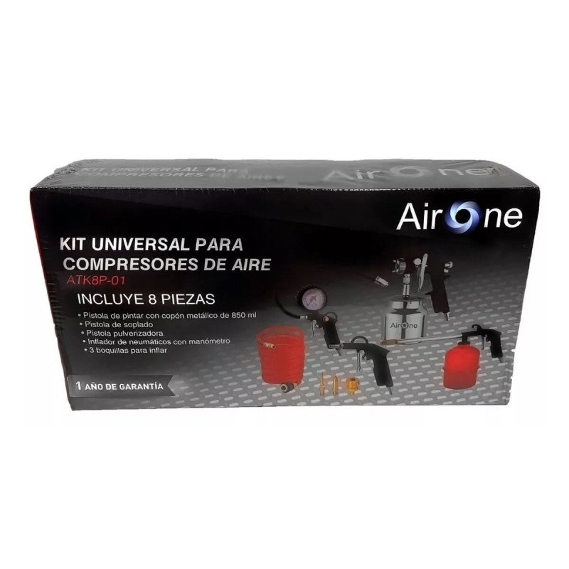 Kit Compresor 8 Piezas con Copón 850 ML AirOne ATK8P-01