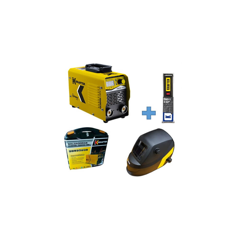Soldadora Inverter Compac 205C 200Amp + Máscara Focus KT 710 + Electrodos E6011 Krafter 4459000555205