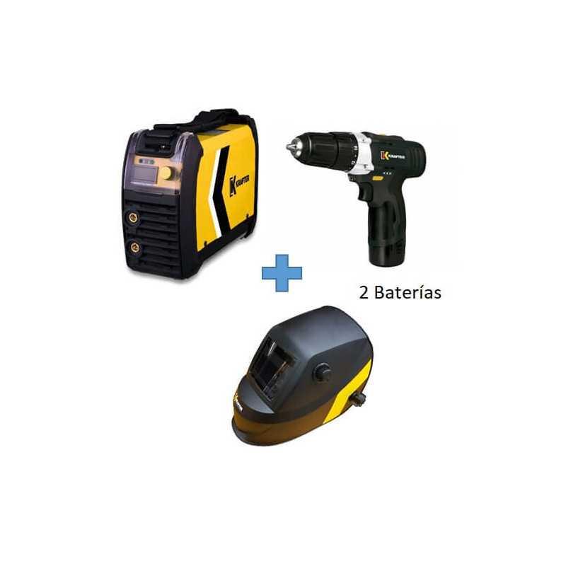 Soldadora Inverter 200IGBT 200Amp + Taladro 10.8V + Máscara Fotosensible KT 710 Krafter COMBO 2
