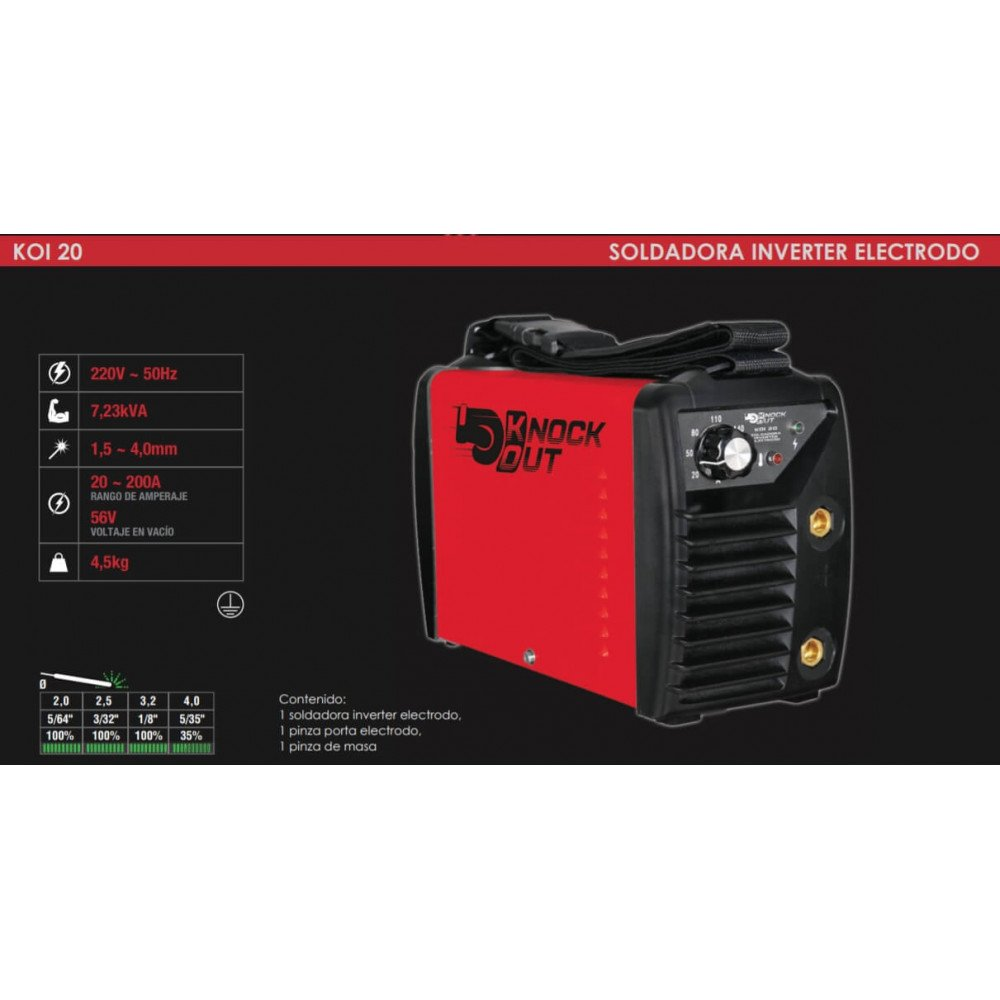 Soldadora Inverter 200A Koi 20 Knock out MI-KNO-053059
