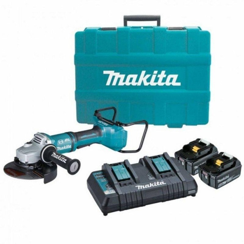 "Esmeril Angular Inalámbrico 7"" (180 mm) + 2 Baterías 18V 5.0 Ah + Cargador Doble Makita DGA700PT2"
