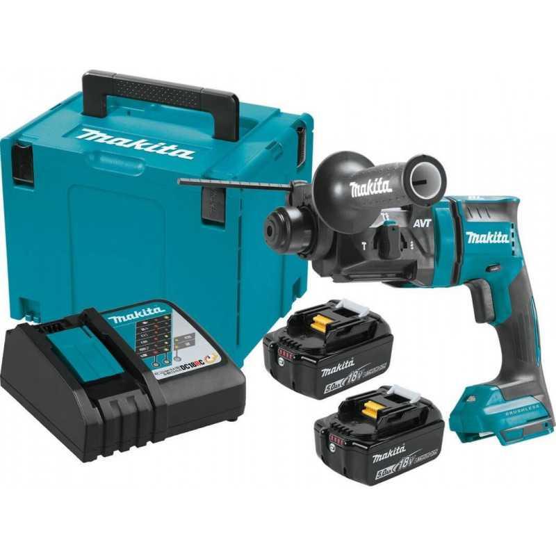 Rotomartillo Inalámbrico SDS-PLUS 18mm 18V+ 2 baterías 5.0 Ah + Cargador + Caja Makpac Makita DHR182RTJ