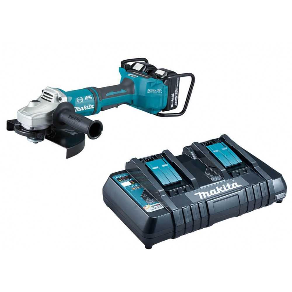 Esmeril Angular Inalámbrico 230 mm (9″) 18V + 2 baterías 5,0 Ah + Cargador Rápido Doble Makita DGA901PT2