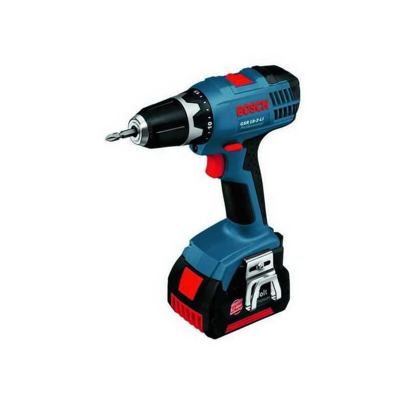 Taladro atornillador 18V 2 baterías + Cargador 1,3 Ah 38 Nm 1400 rpm 1,3 kg mandril 10 mm Bosch GSR 18-2-LI