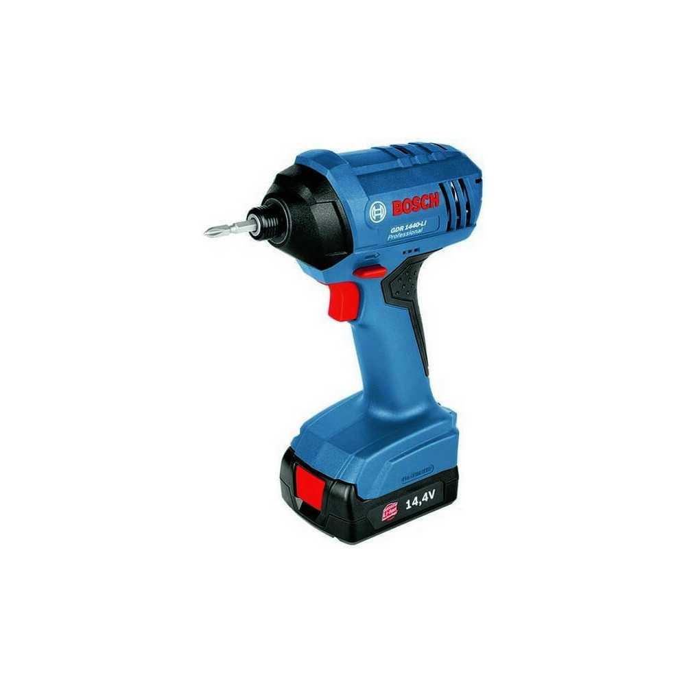 Atornillador de impacto 14,4 V 130 Nm 2900 rpm 1,2 kg 2 baterias 1,3 Ah c/maletin + Cargador Bosch GDR 1440 LI