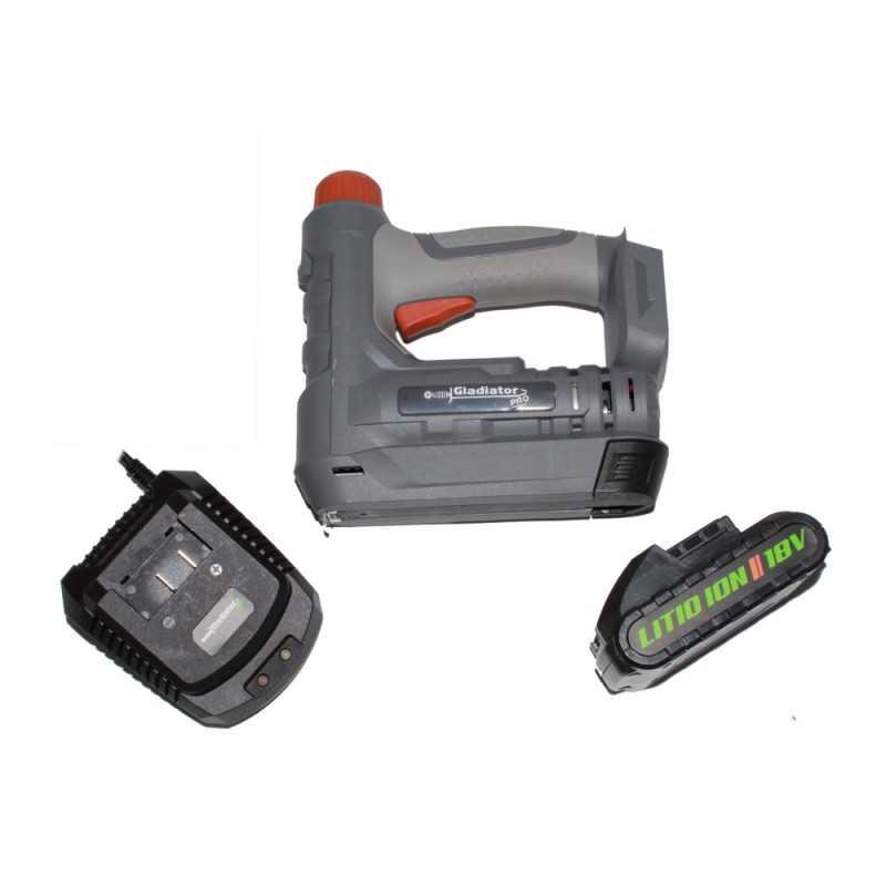 Engrapadora Inalámbrica T50 18V+ Bateria 2.0Ah + Cargador EG 818/18 C1 Gladiator MI-GLA-052980