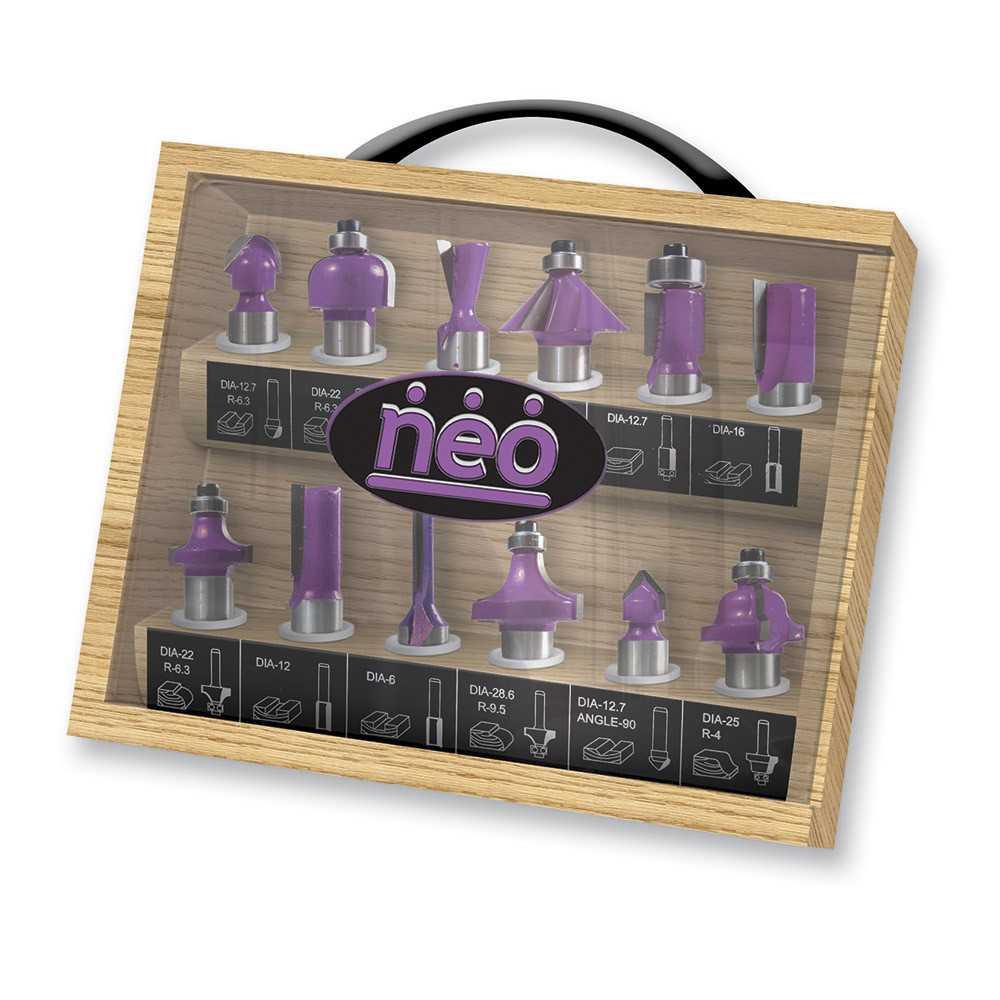 "Set Fresas Eje 1/4"" 12 pzs Caja de madera Neo MI-NEO-044476"