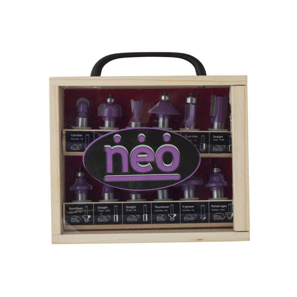 "Set Fresas Eje 1/2"" 12 pzs. Caja de Madera AF 712K 1/2"". Neo MI-NEO-044477"
