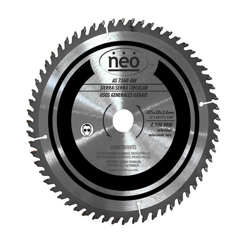 "Disco Sierra 12"" 60 Dientes AS 7260 AW Neo MI-NEO-044490"