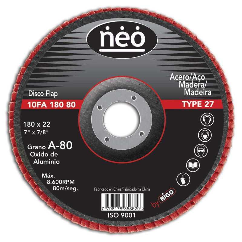 """Disco Flap 7"""" Acero y Madera GR 80 10FA18080 Neo MI-NEO-046233"""
