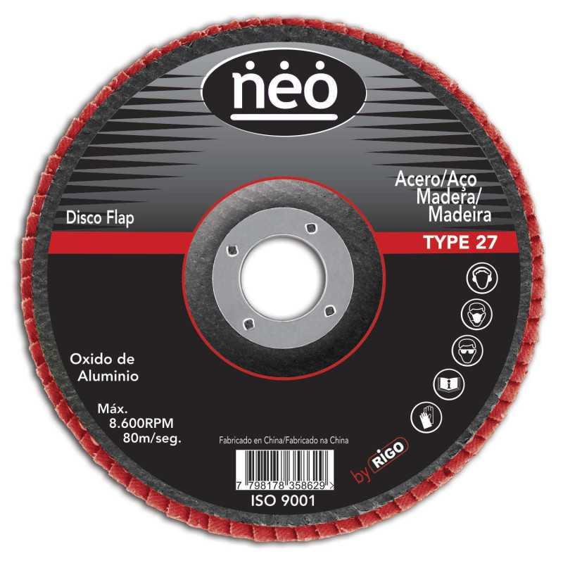 """Disco Flap 7"""" Acero y Madera GR 120 10FA18120 Neo MI-NEO-046234"""
