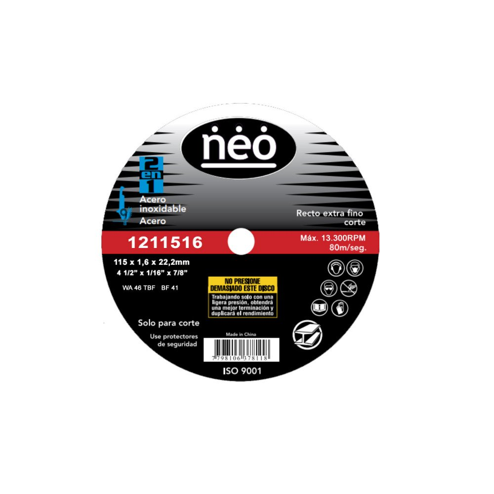"Disco de Corte 4 1/2"" x 1.6mm Acero Inox 1211516 Neo MI-NEO-050736"