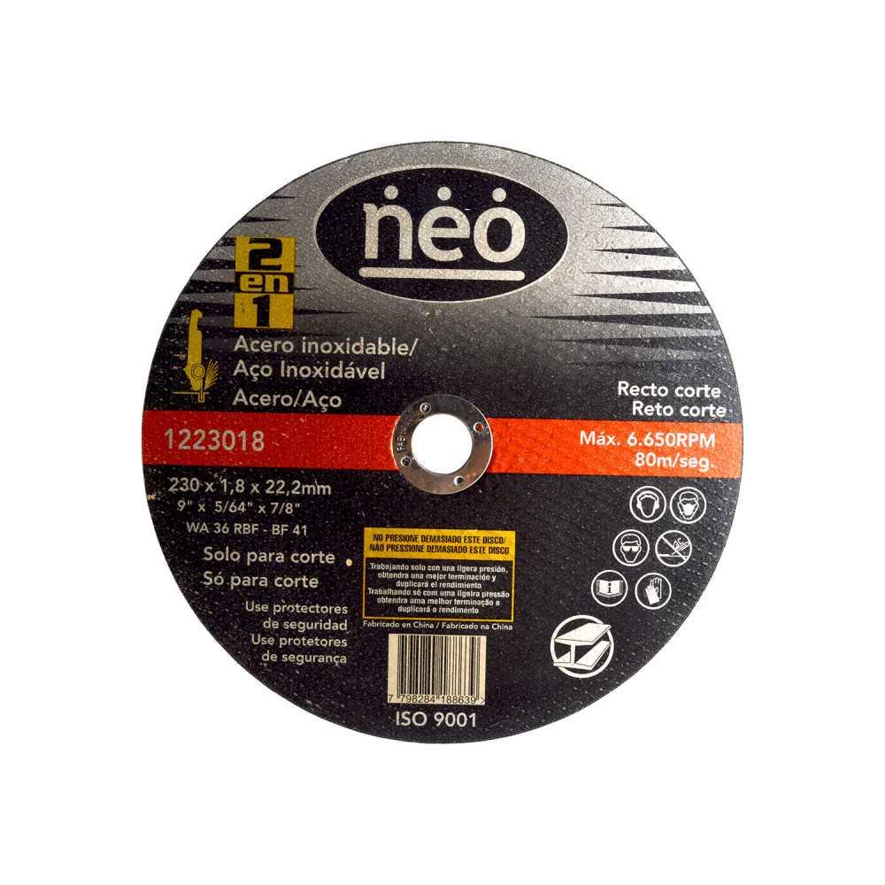 "Disco de Corte 9"" x 1.8mm x 22.2mm Acero Inox 1223018 Neo MI-NEO-051049"