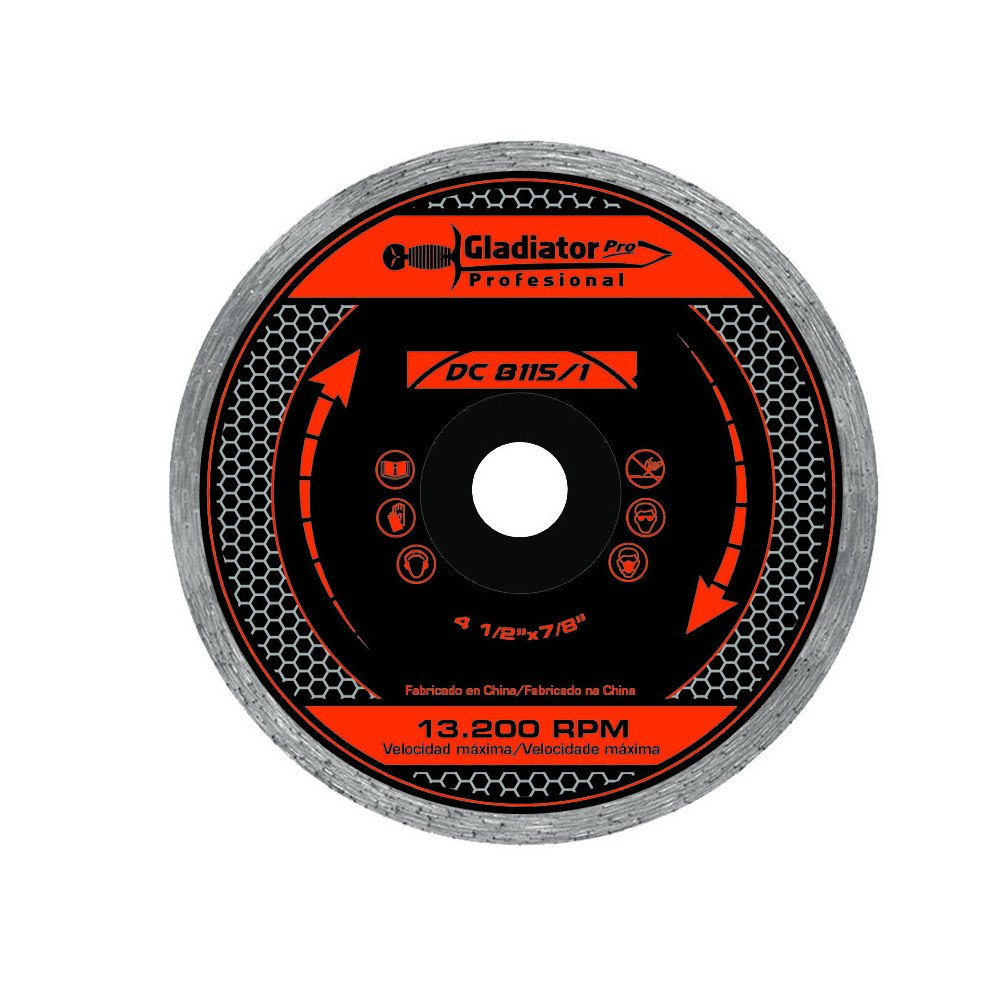 "Disco Diamantado Continuo 4 1/2"" (115mm) DC8115/1 Gladiator MI-GLA-049675"