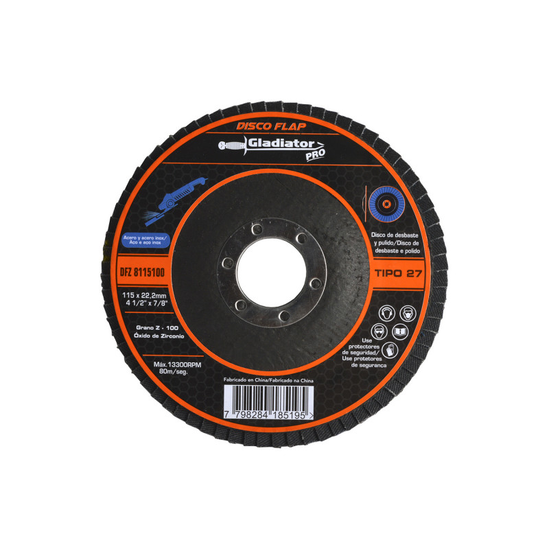"""Disco Flap 4 1/2"""" Acero y Acero Inoxidable GR100 8115100 Gladiator MI-GLA-051050"""