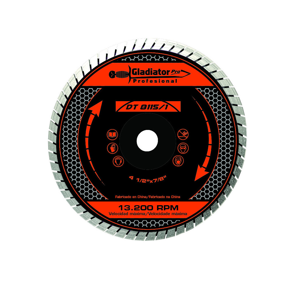 "Disco Diamantado Turbo 4 1/2"" DT8115/1 Gladiator MI-GLA-049672"