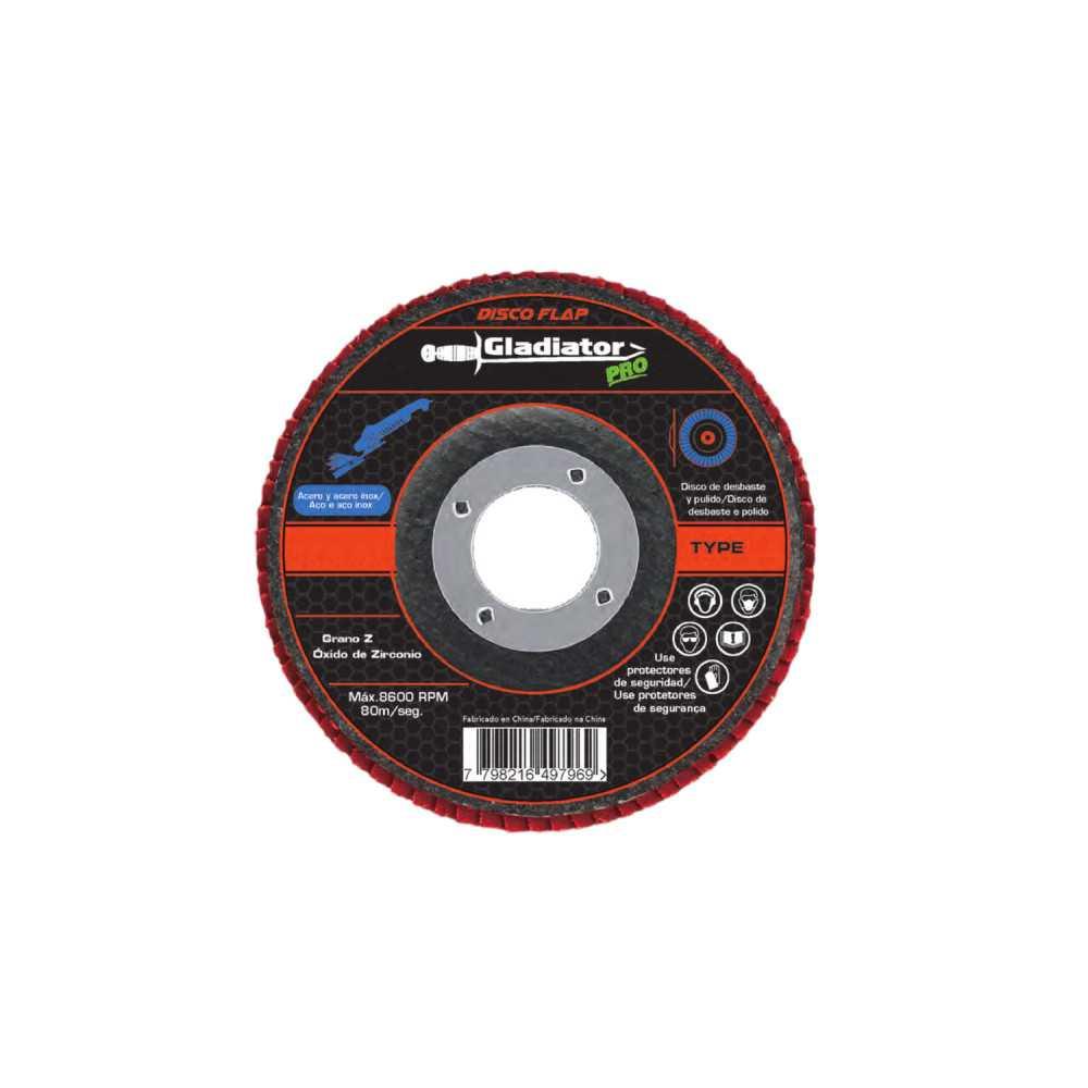"""Disco Flap 4 1/2"""" Acero y acero inoxidable GR40 DF Gladiator MI-GLA-051525"""