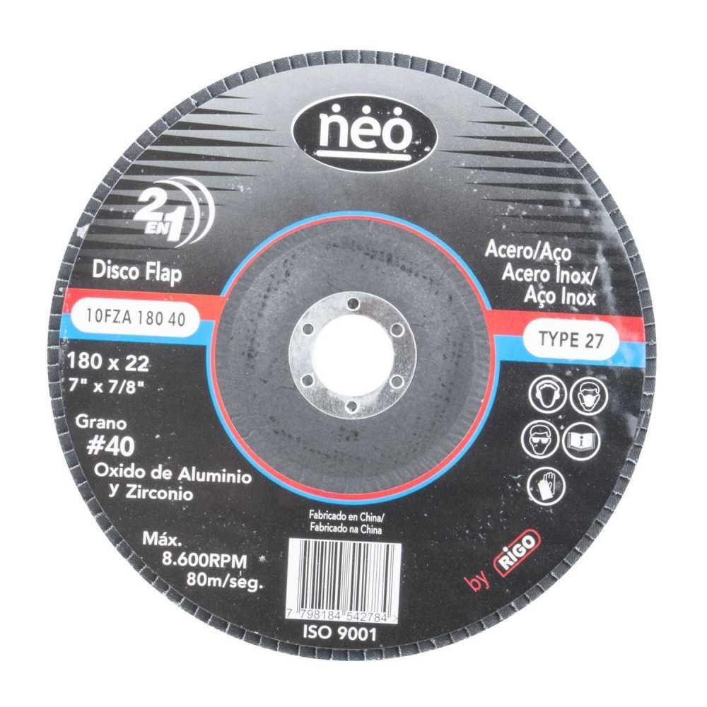 """Disco Flap 7"""" (180mm) acero y acero inoxidable GR 40 18040 Neo MI-NEO-047216"""