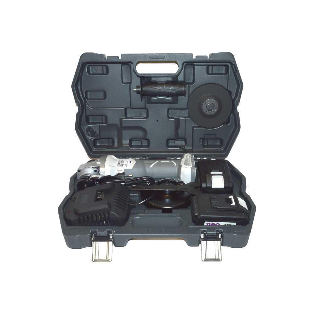 """Esmeril Angular Inalámbrico 4 1/2"""" 20V + 2 Baterías 20V + Cargador AA 1015/20 K2 Neo MI-NEO-052425"""