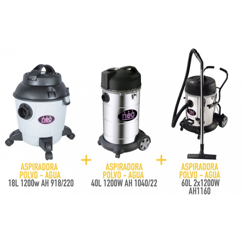 Kit Aspiradora 18L 1200W + Aspiradora 40L 1400W + Aspiradora 60L 2x1400W Neo MI-NEO-054009