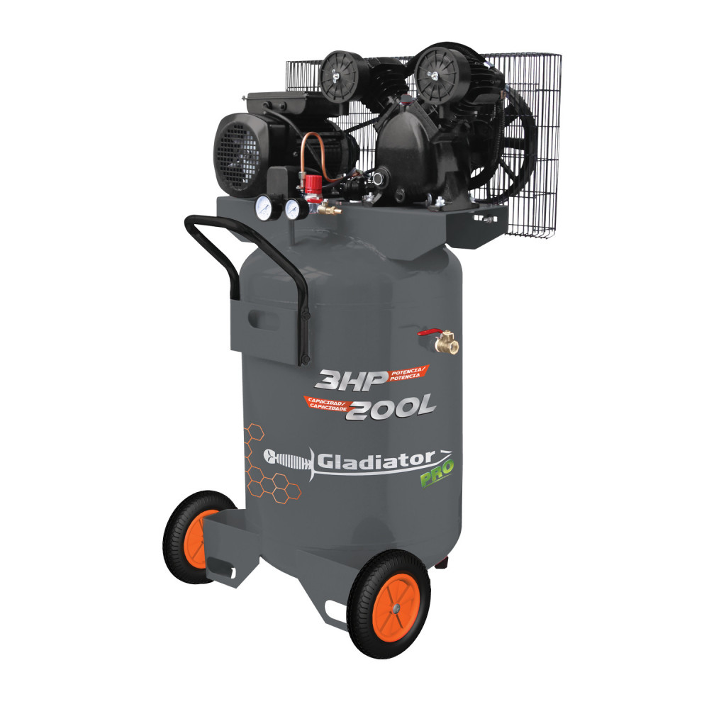 Compresor de aire Vertical 3HP 200L CE 8200/220MV Gladiator MI-GLA-051054