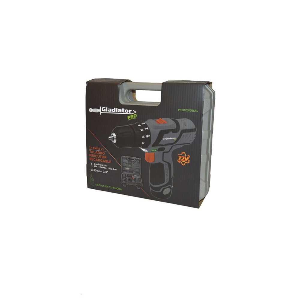 Taladro Atornillador Percutor Inalámbrico 10MM + 2 Baterías 12V + Accesorios TP 810/12 K2 Gladiator MI-GLA-051848