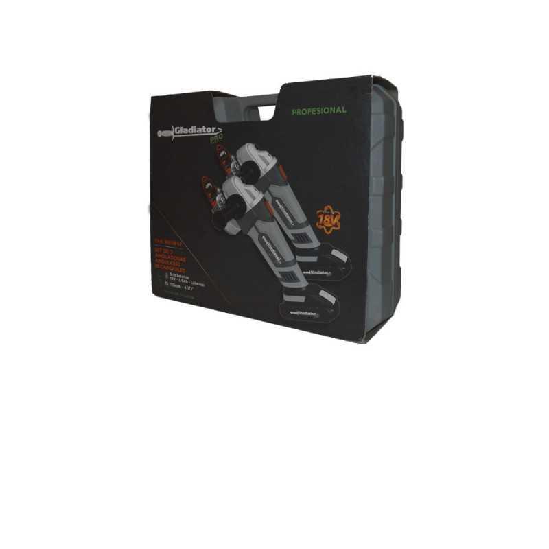 "Esmeril Angular Inalámbrico Inalámbrico 4 1/2"" 18V 2 Unid + 2 baterias + cargador 2AA 815/18K2 Gladiator MI-GLA-052005"