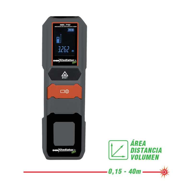 Medidor de distancia Láser 0.15-40 Metros MDL 740 Gladiator MI-GLA-052545