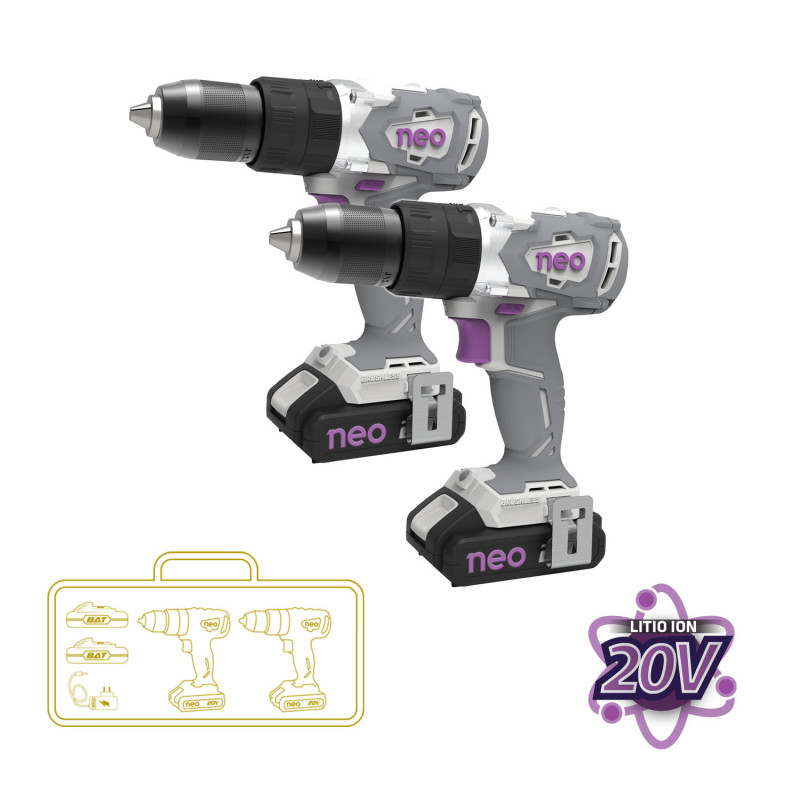 Taladro Atornillador Percutor Inalámbrico 13MM 20V 2 Und + 2 Baterías 20V + Cargador 2TP 1013/20 K2 Neo MI-NEO-052423