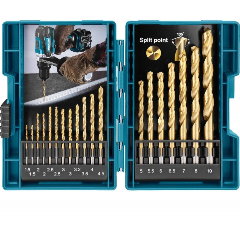 Set Brocas SET BROCA HSS-TiN METAL 19 PCS Makita D-67527