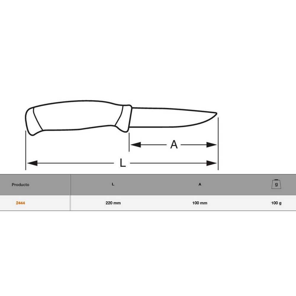 Cuchillo acero inox con funda 22 cm Bahco 2444