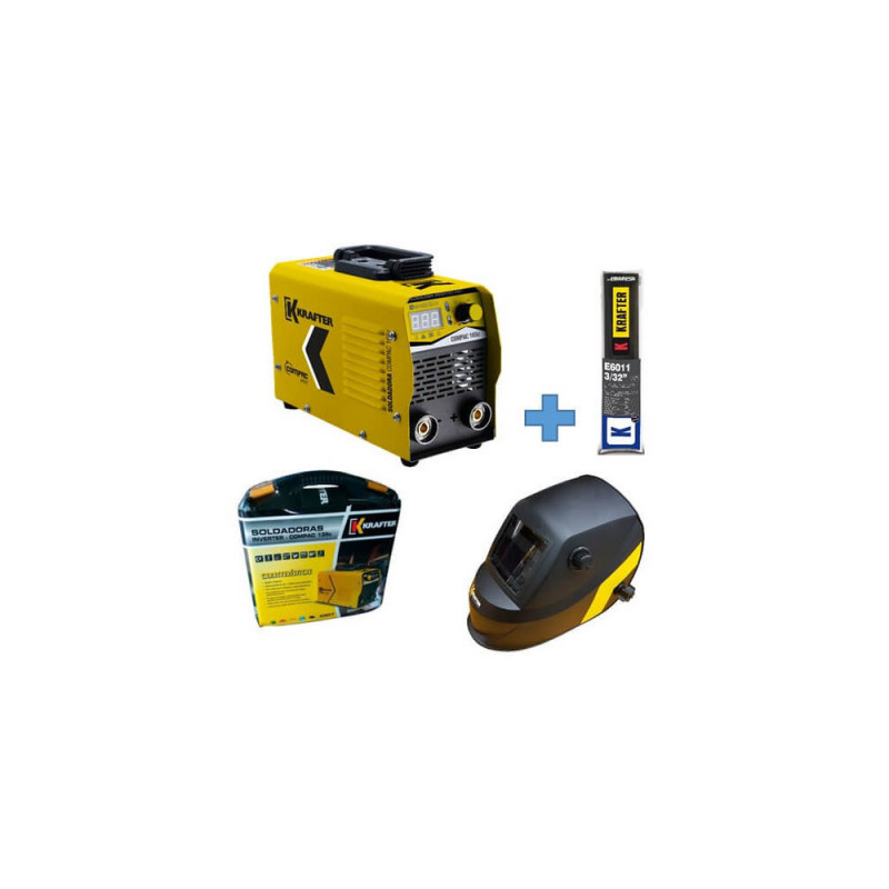 Soldadora Inverter Compac 165C 160Amp + Máscara Focus KT 710 + Electrodos E6011 Krafter 4459000555165