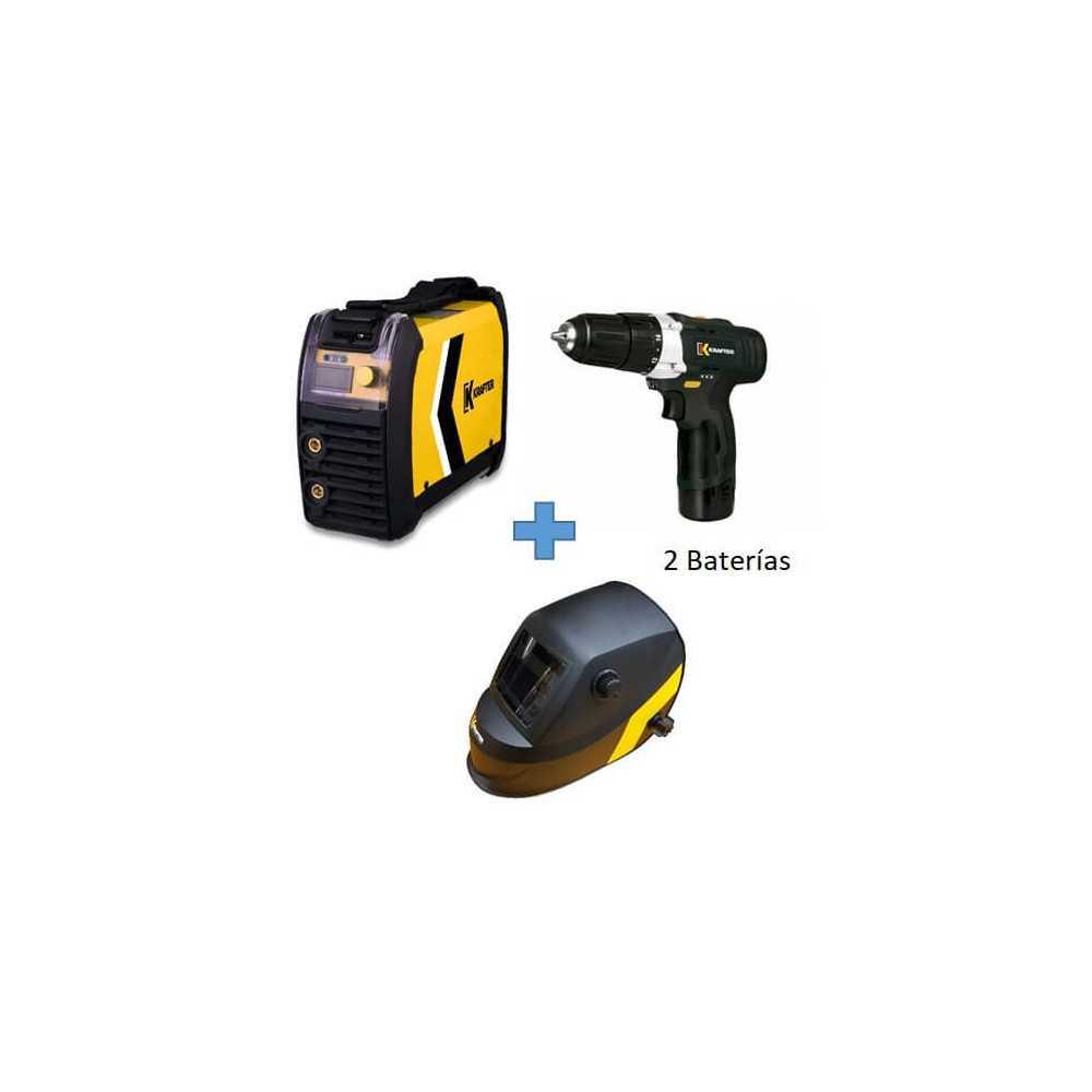 Soldadora Inverter 165IGBT 160Amp + Taladro 10.8V + Máscara Fotosensible KT 710 Krafter COMBO 1