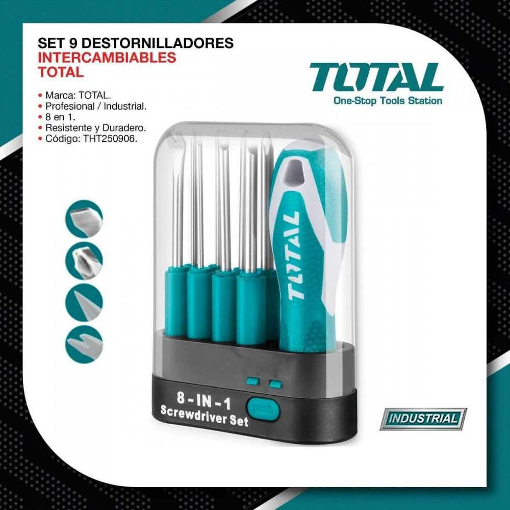 Set Atornilladores 9 PCS Intercambiable Total Tools THT250906