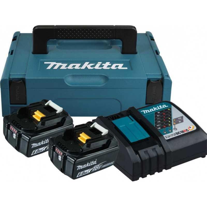 Kit 2 baterias 18V 6.0 Ah + cargador rapido + MAKPAC Makita 198116-4