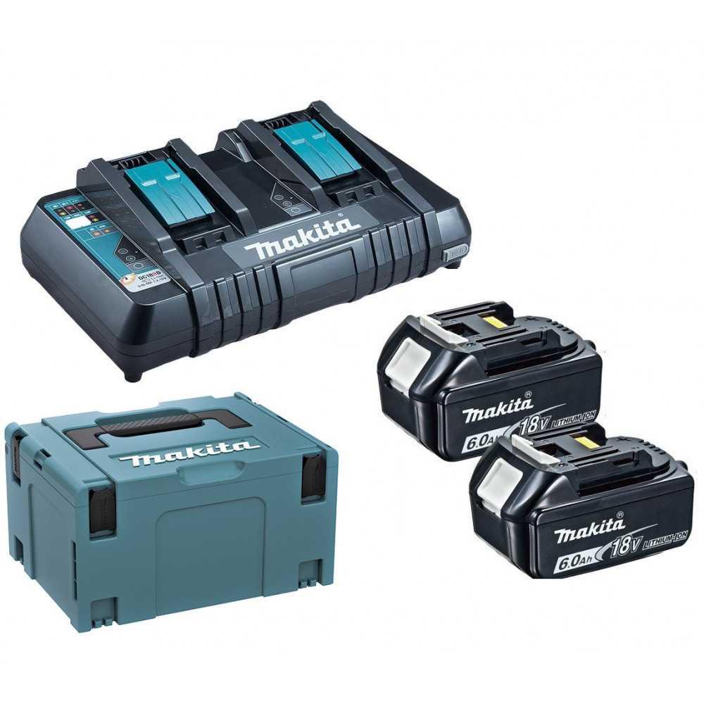 Kit 2 baterias 18V 6.0 Ah + cargador rapido doble + MAKPAC Makita 198077-8