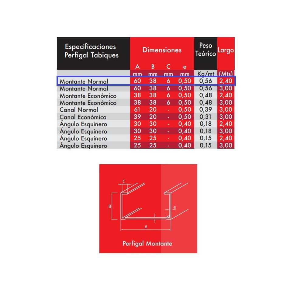 Montante  Normal 60x38x6x0.5x2.4mt Perfimet MET-0010