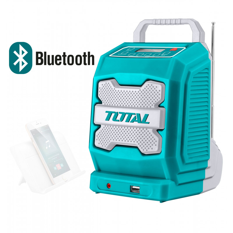 Radio de trabajo Inalámbrica 20V AM/FM MP3 USB Bluetooth 4.0 Total Tools TJRLI2001