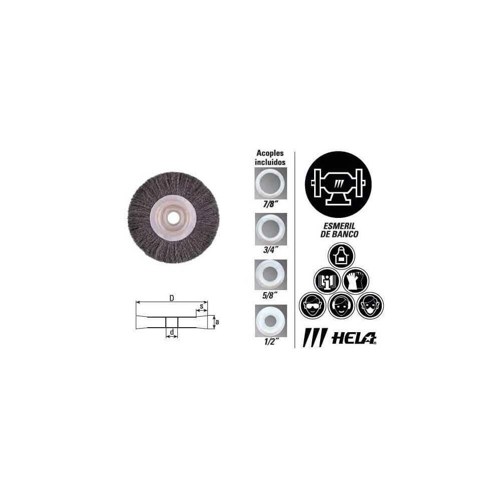 """Grata Circular Plana Alambre Acero 6"""" calibre 0.25mm 64/25 Hela 10800163"""