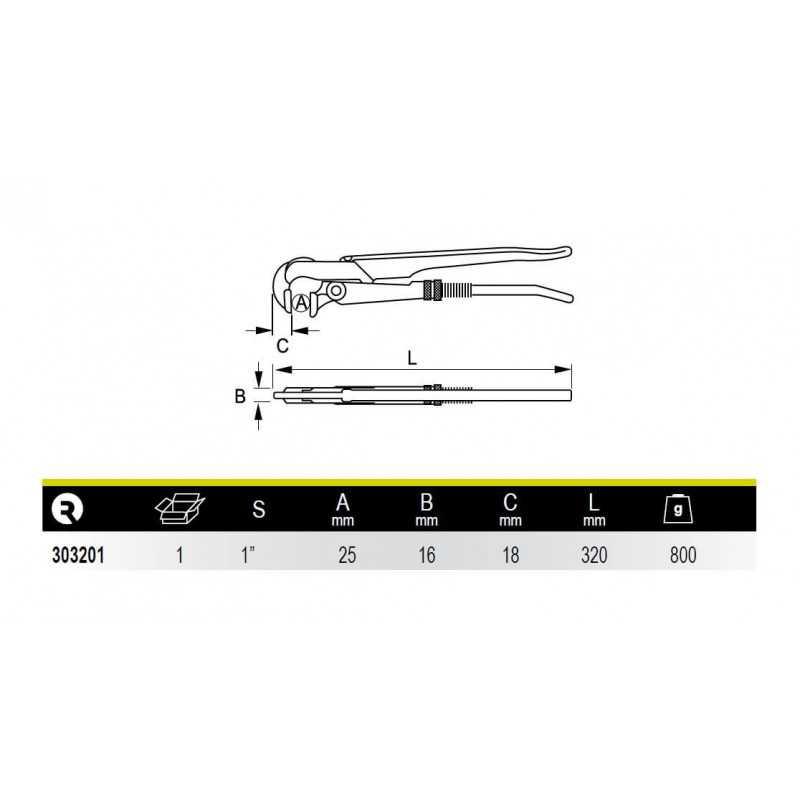 """Llave de Tubo Modelo Sueco Boca Perpendicular 1"""" Irimo 303201"""