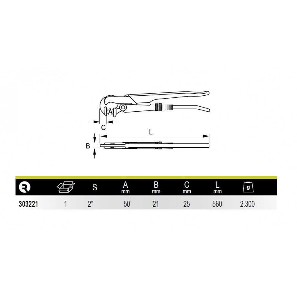 """Llave de Tubo Modelo Sueco Boca Perpendicular 2"""" Irimo 303221"""